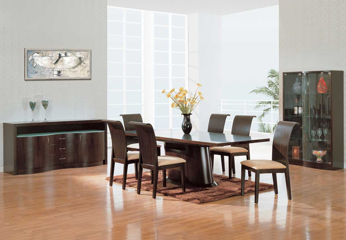 Global Furniture USA Siena Dining Set-Dark Zebrano
