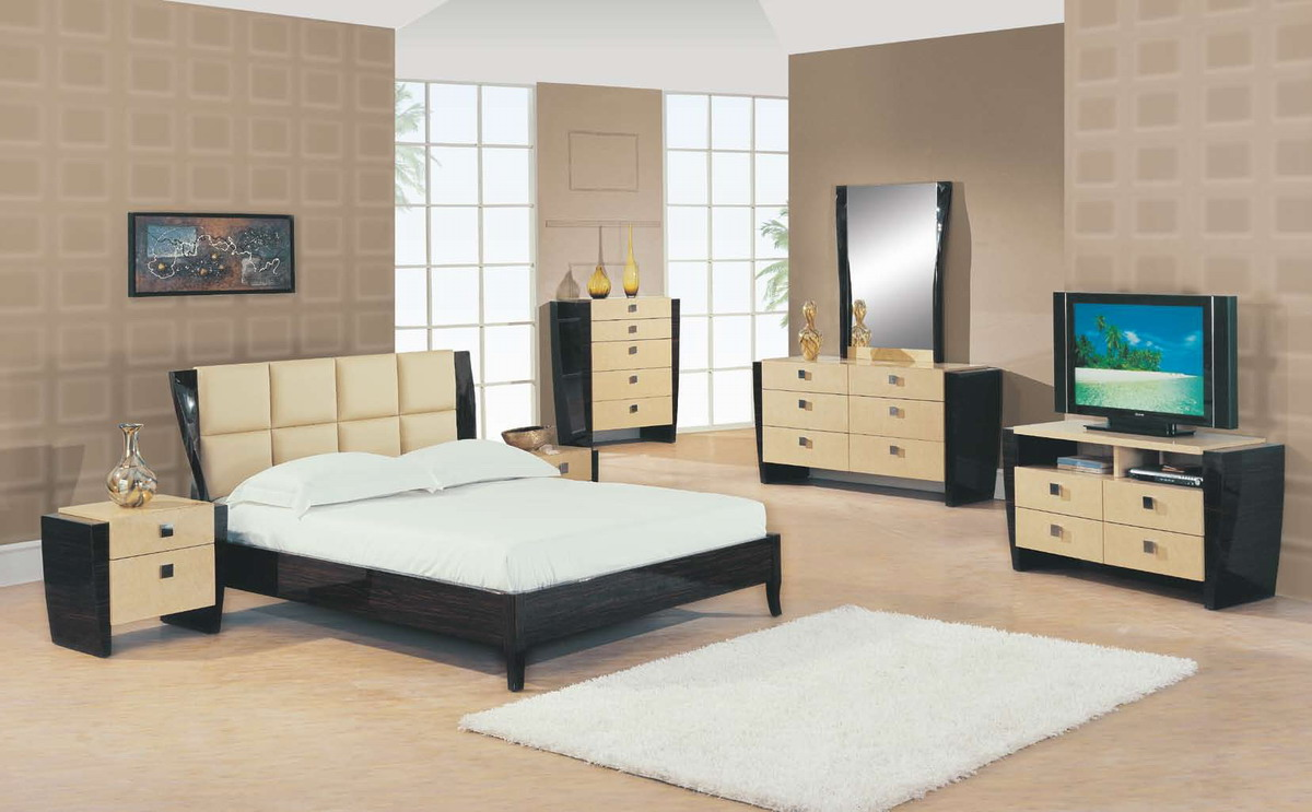 Global Furniture USA Simone Bedroom Collection - Beige/Dark Mahogany