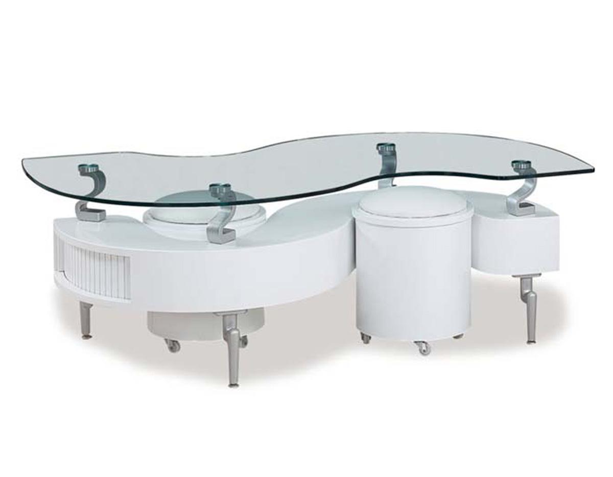 Global Furniture USA 288 Coffee Table   White   MDF/Vinyl/Metal Legs