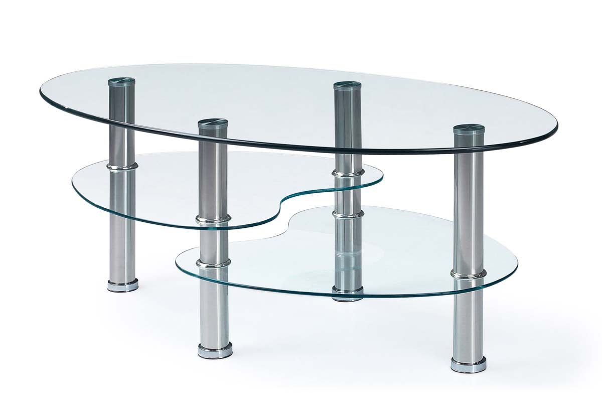 Global Furniture Usa 664 Coffee Table Clear Glass Stainless Steel Legs Gf T664ct At