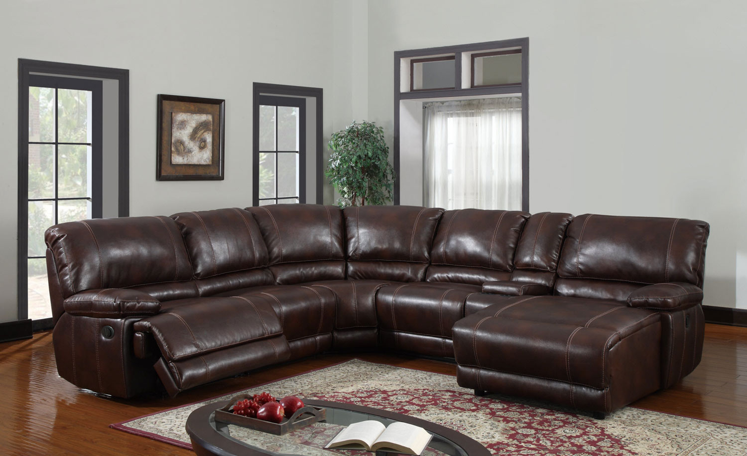 Global Furniture USA 1953 Power Reclining Sectional Sofa Set   Bonded  Leather   Brown