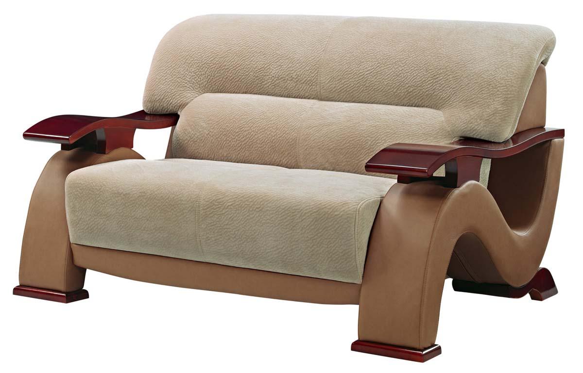 Global Furniture Usa 2033 Sofa Set Beige Fabric Light Brown Vinyl Mahogany Wood Legs U2033