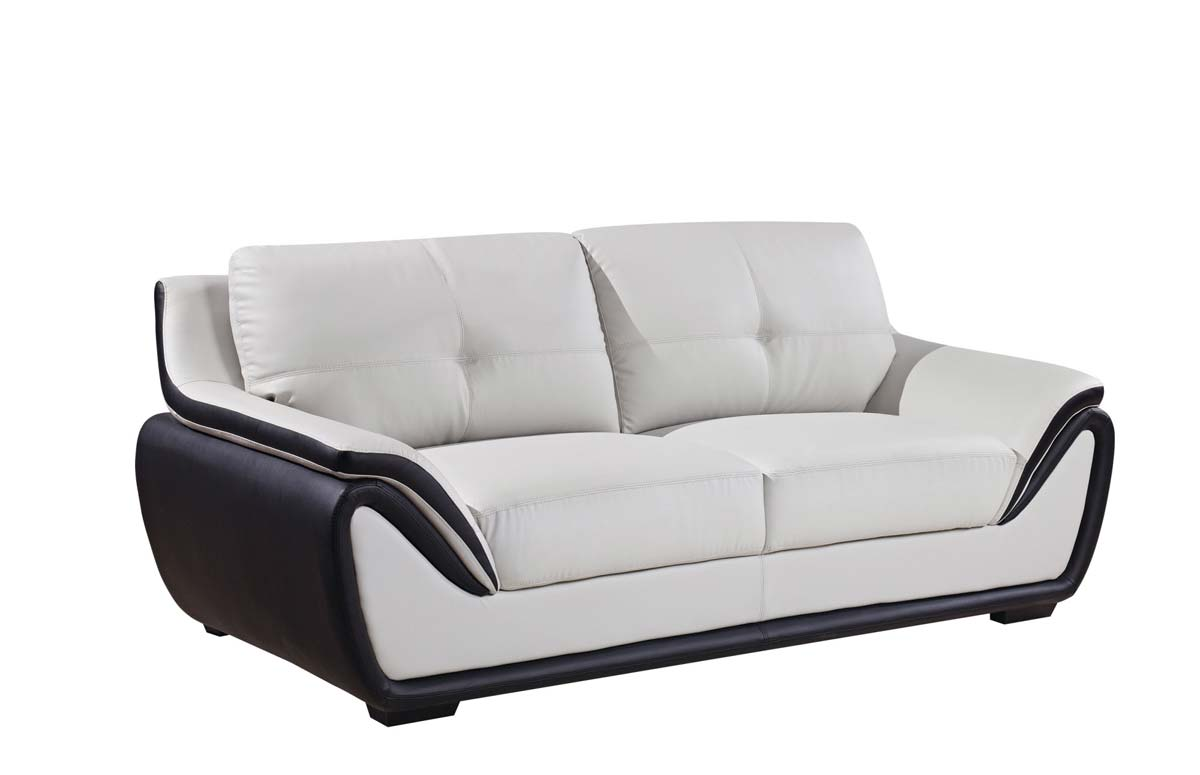 Global Furniture Usa 3250 Sofa Grey Black Bonded Leather With Wood Legs