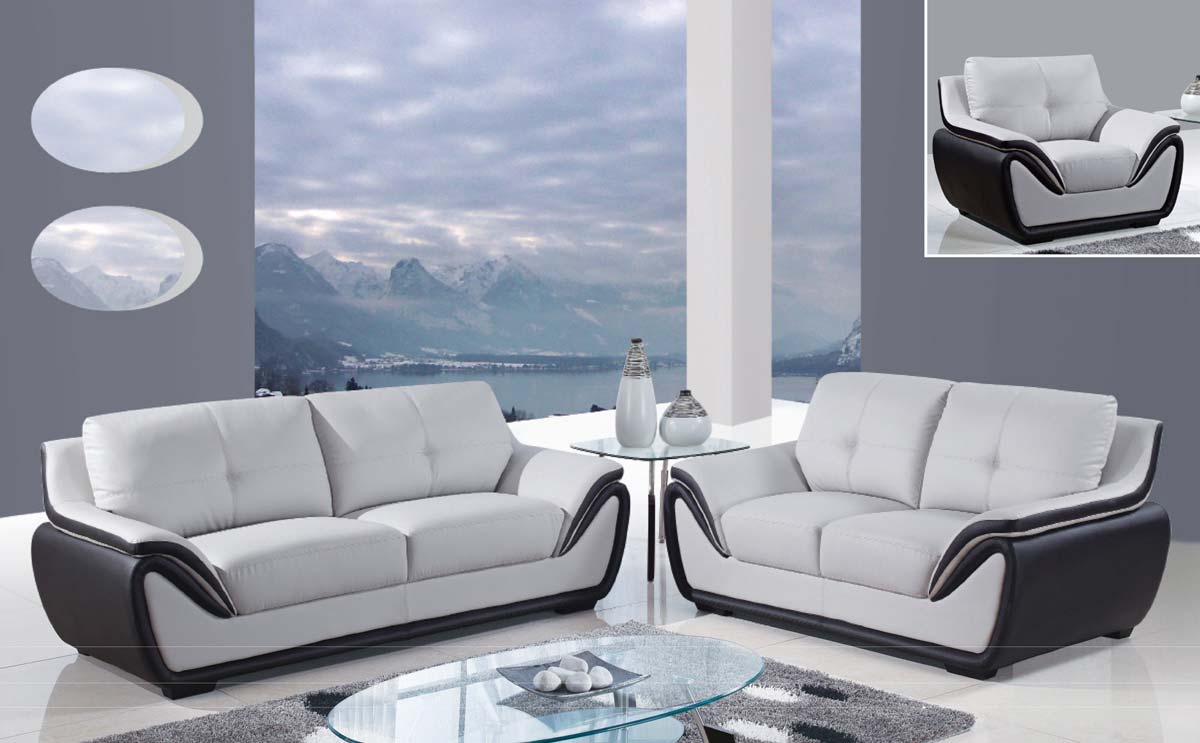 Global Furniture USA 3250 Sofa Set - Grey/Black/Bonded Leather with Wood Legs
