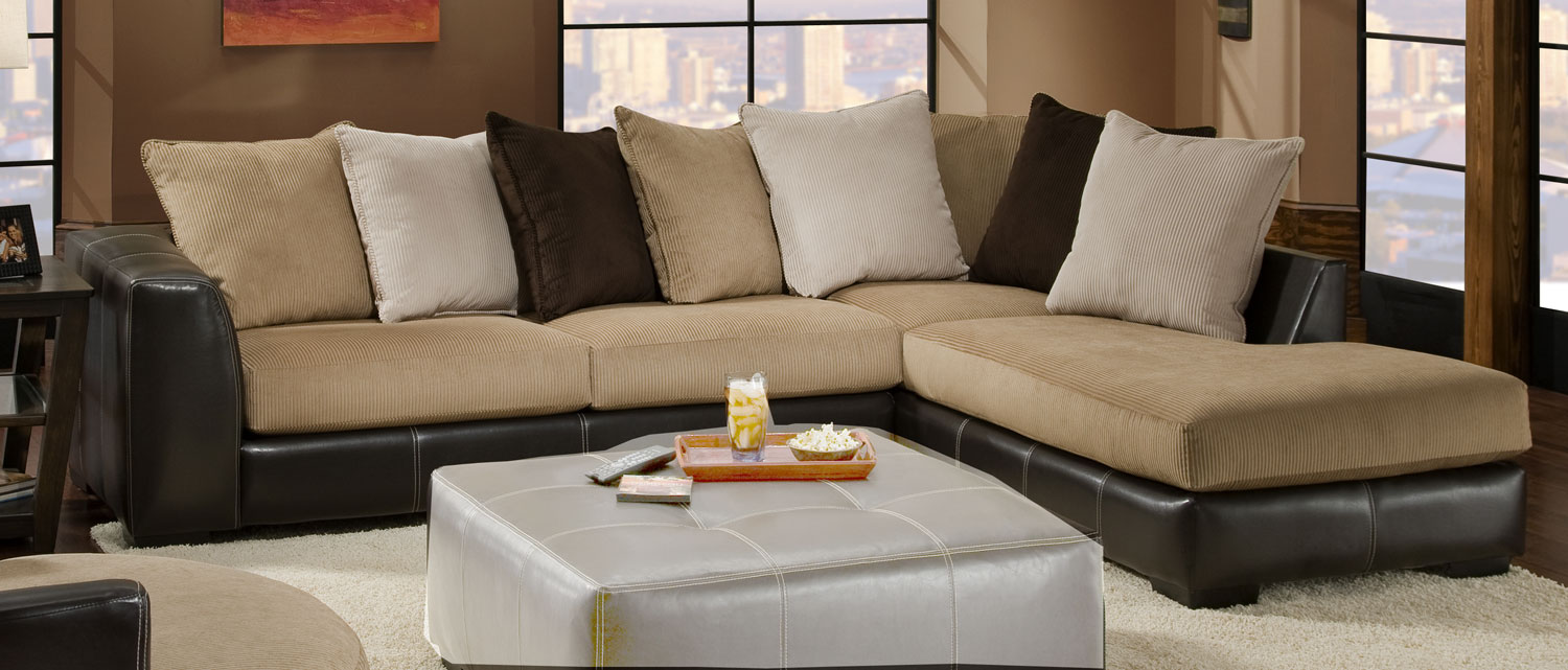 Global Furniture USA 3480 Sectional Sofa - Cord/Bicast - Beige/Chocolate