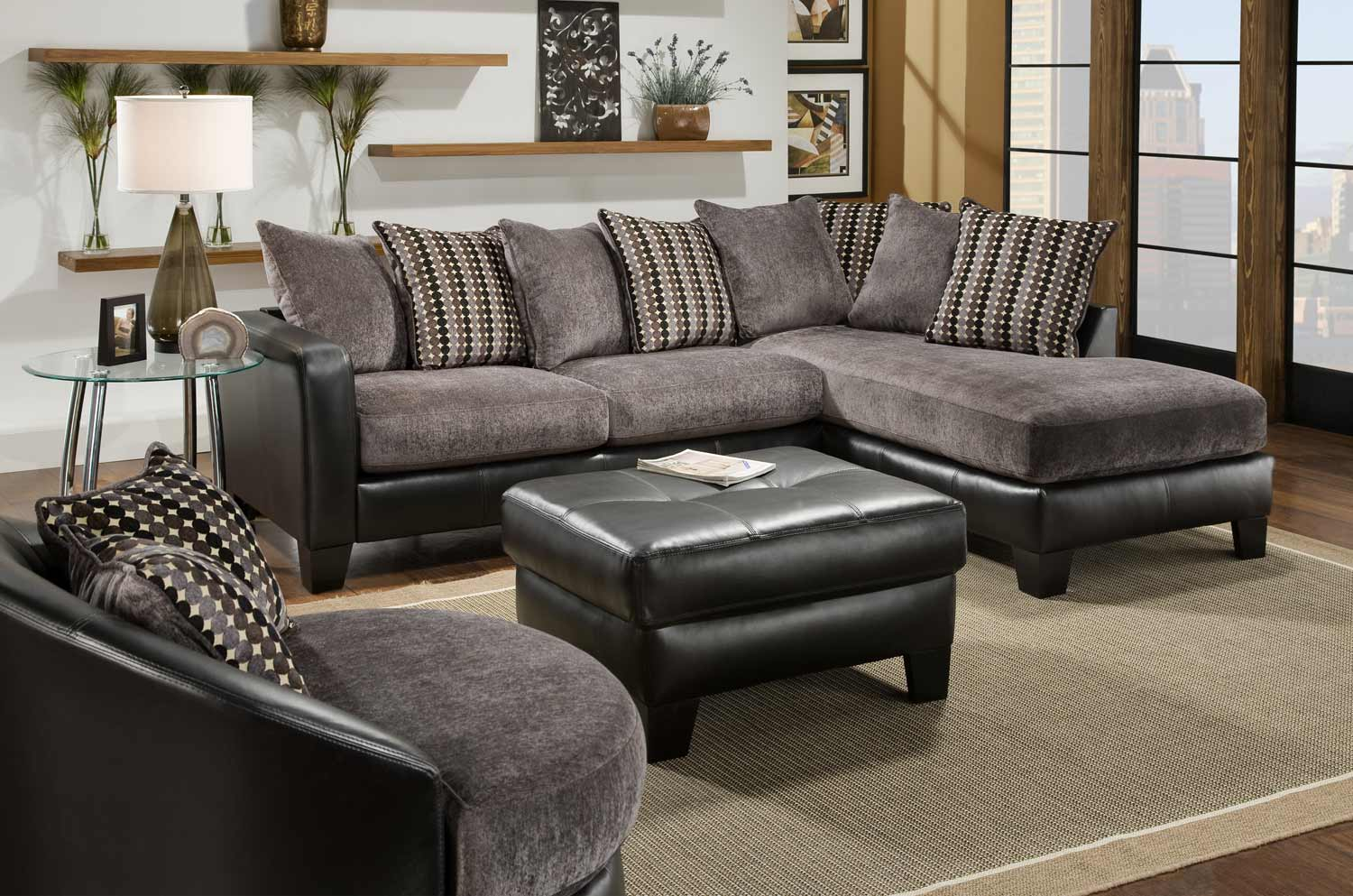 Global Furniture USA 3600 Sectional Sofa Set - Grey Fabric with Black Bicast : usa sectionals - Sectionals, Sofas & Couches