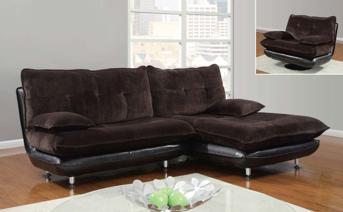 Global Furniture USA 3613 3 Piece Sectional Sofa   Champion Chocolate