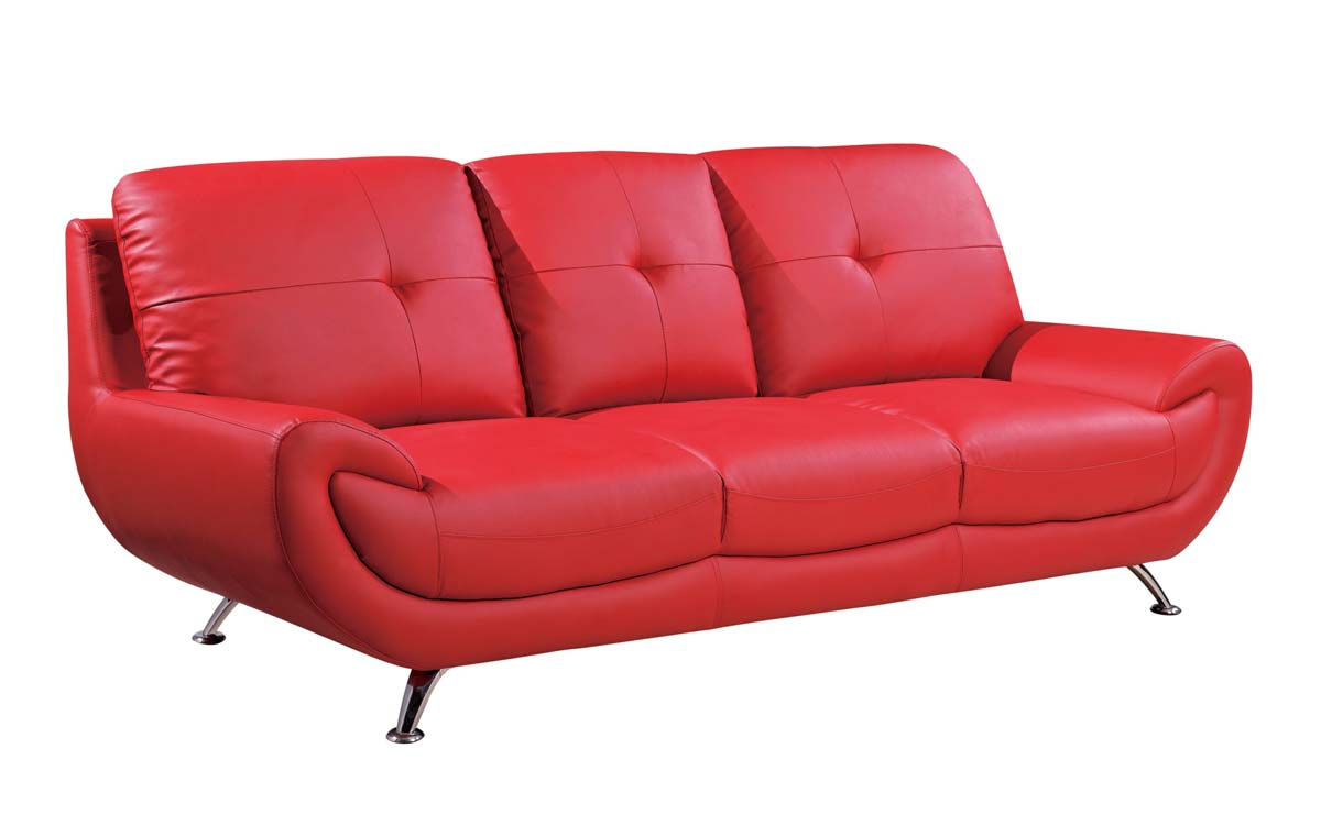 Global Furniture USA 4120 Sofa   Red/Bonded Leather With Metal Legs