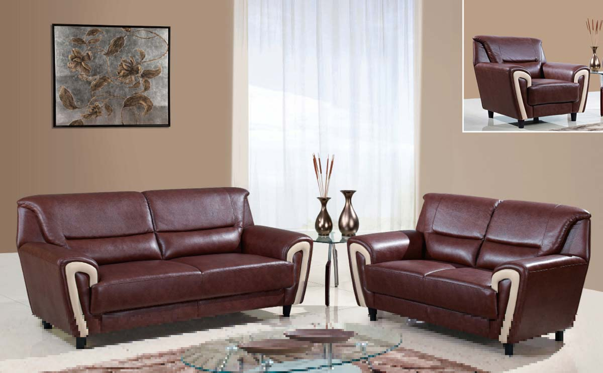 Outstanding Global Furniture USA U U SOFA SET Sofa Set CappuccinoBonded Leather Global Furniture Product Photo