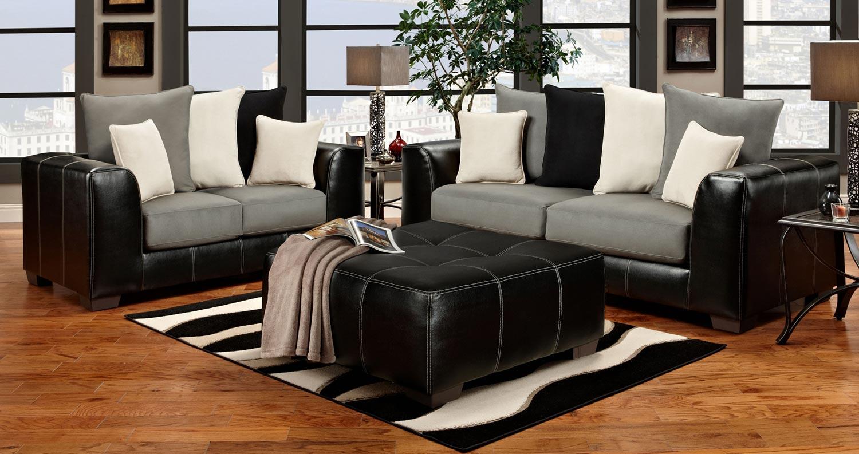 Black and grey sofa set benson black and grey 3 and 2 for Black and grey sofa set