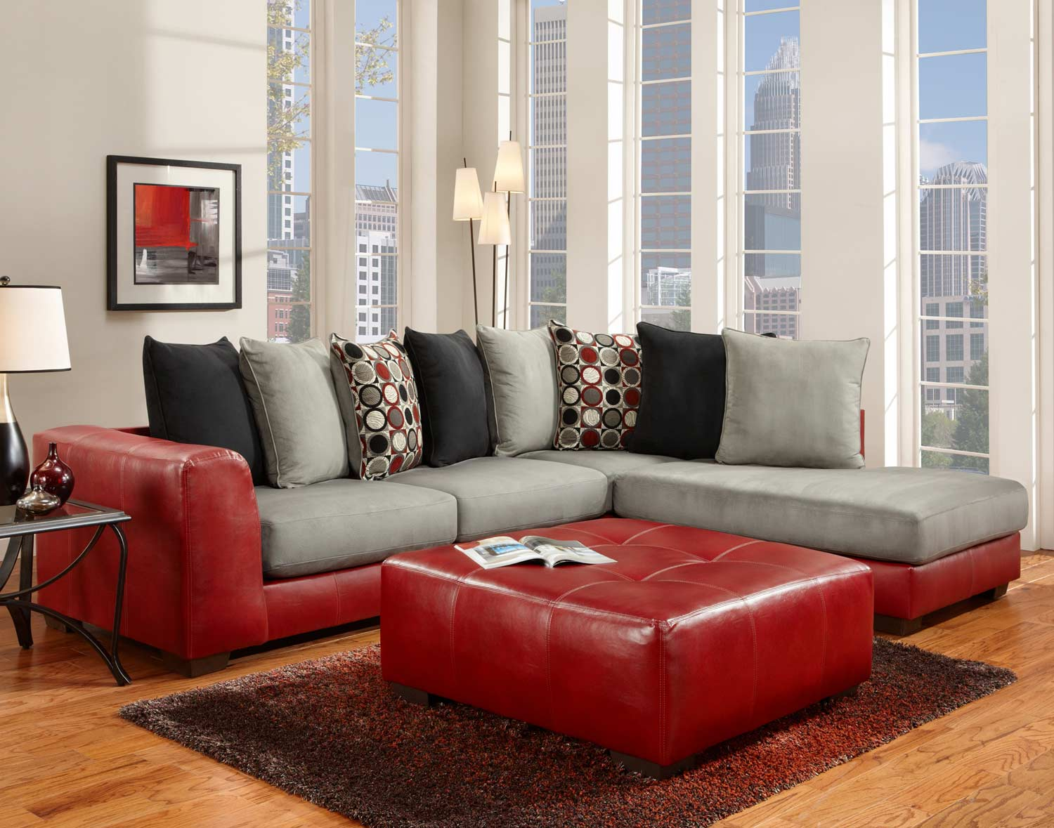 Global Furniture USA 6350 Sectional Sofa Set   Micro Fabric/Bicast    Gray/Red