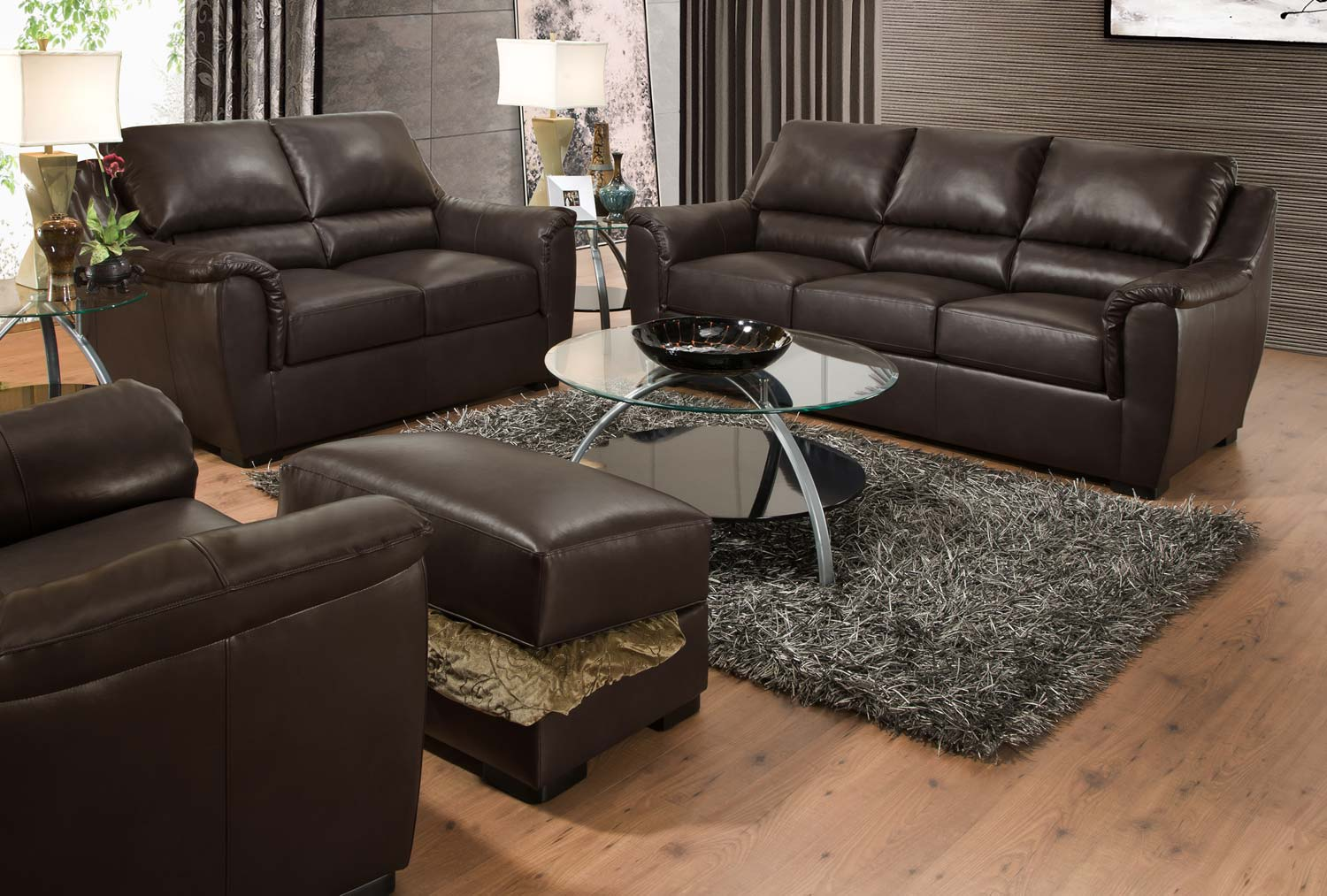 Global Furniture USA 6540 Sofa Set - Bonded Leather - Espresso