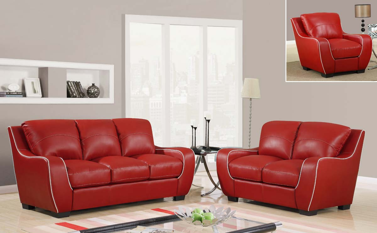 Red vinyl sofa design dilemma choosing a leather sofa home for Red white sofa