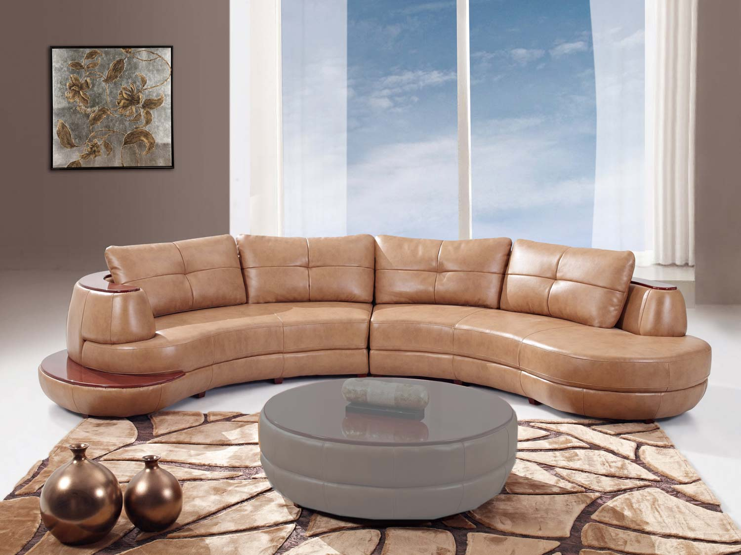 Global Furniture USA 918 2 Piece Sectional Sofa - Honey - Bonded Leather