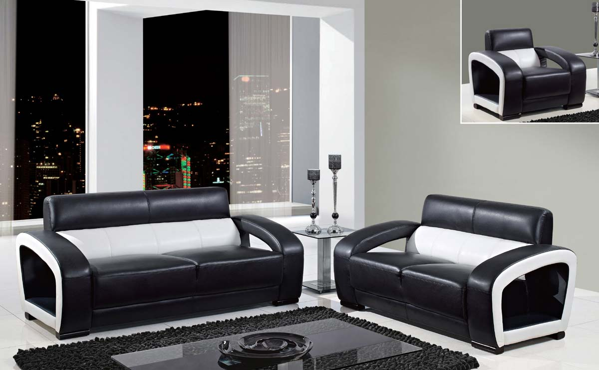 View Global Furniture Sofa Set Ultra Bonded Leather Wood Legs Product Photo