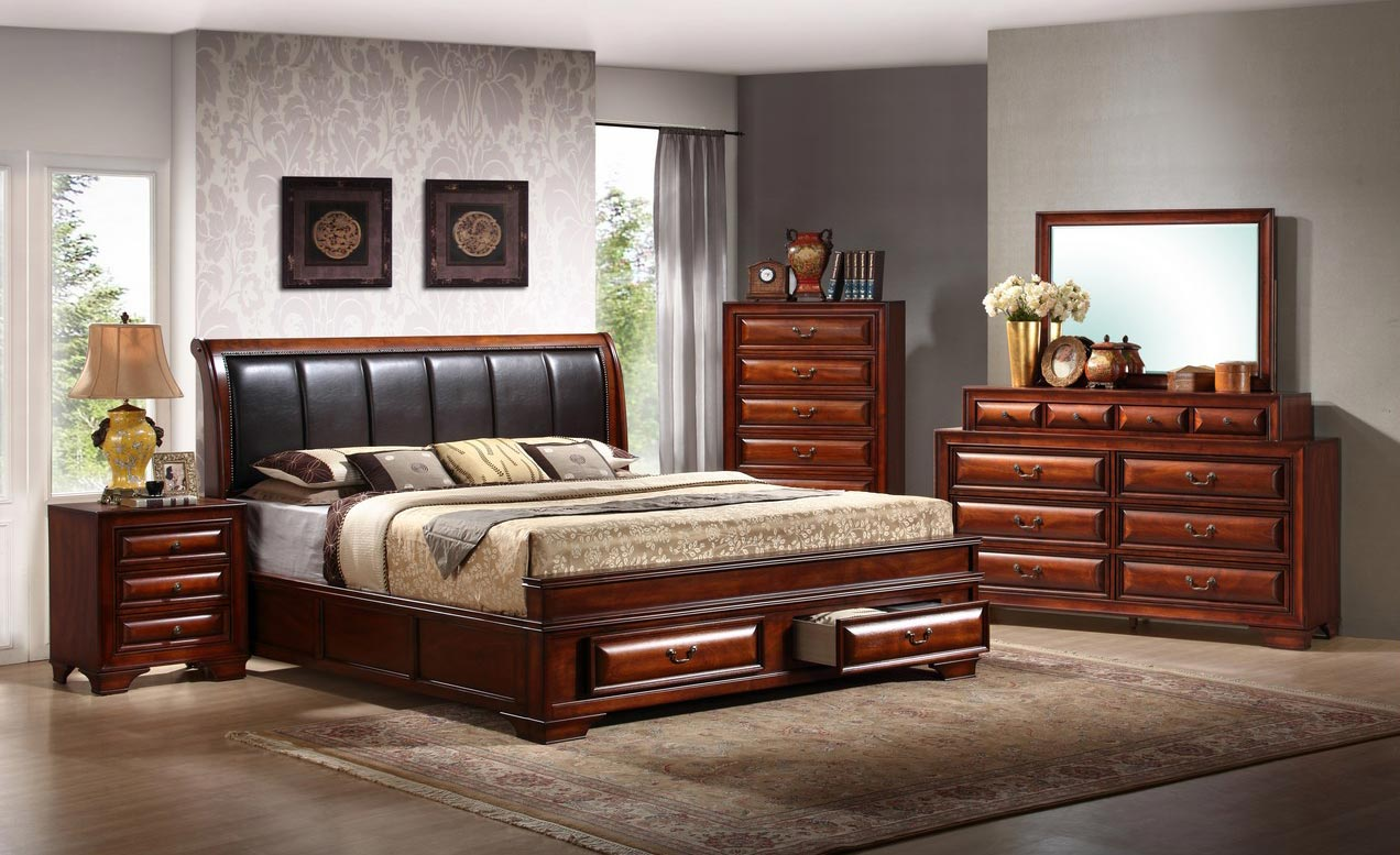 Global furniture usa veronica bedroom set antique oak gf for Bedroom looks for 2016