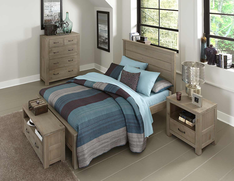 NE Kids Highlands Alex Panel Bedroom Set - Driftwood