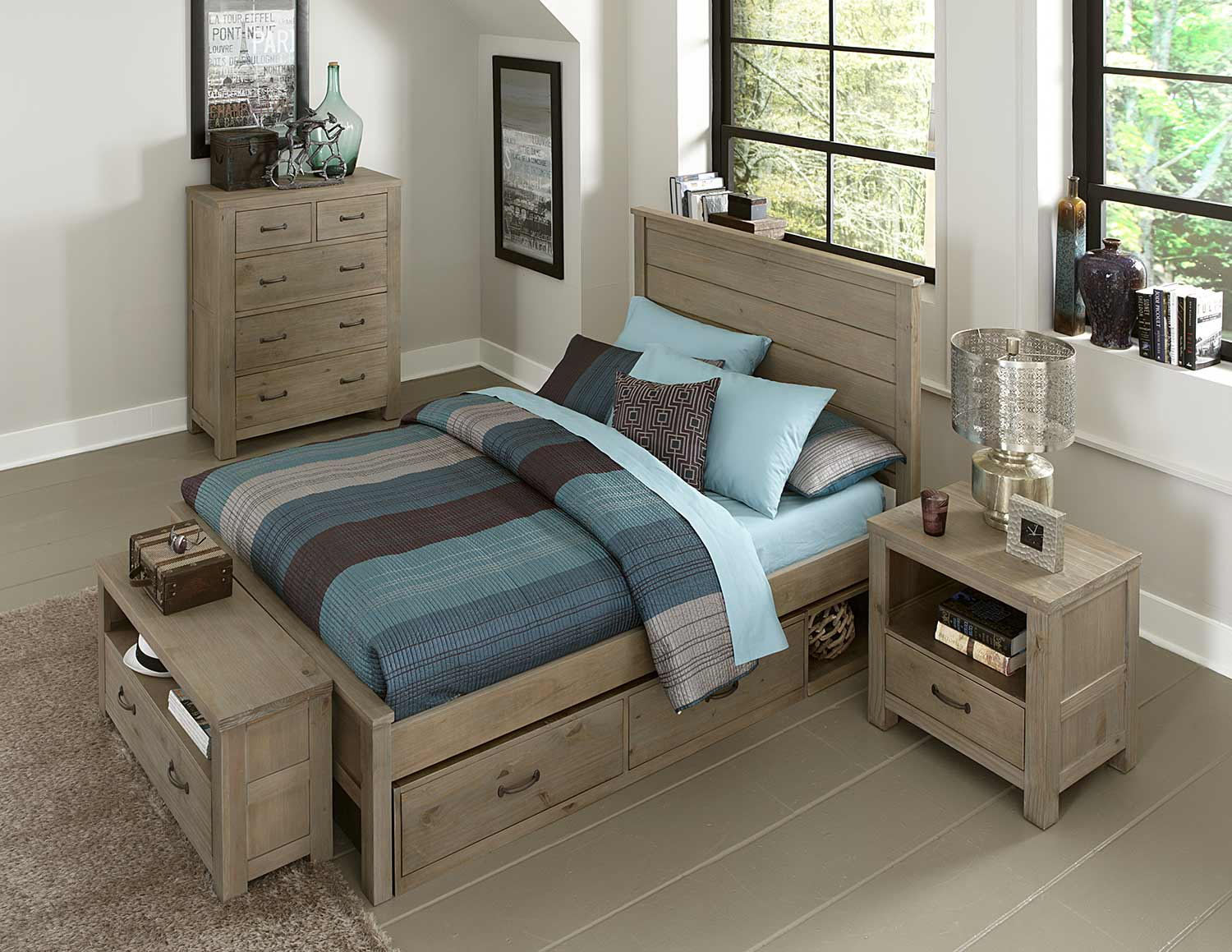 NE Kids Highlands Alex Bedroom Set With Storage - Driftwood
