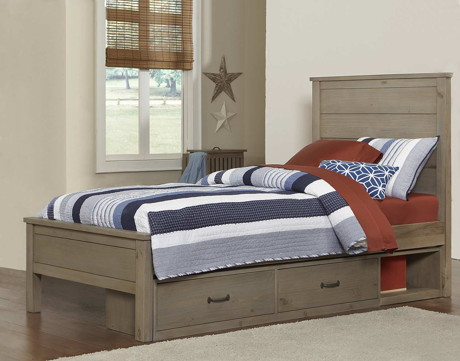 NE Kids Highlands Alex Bed With Storage - Driftwood