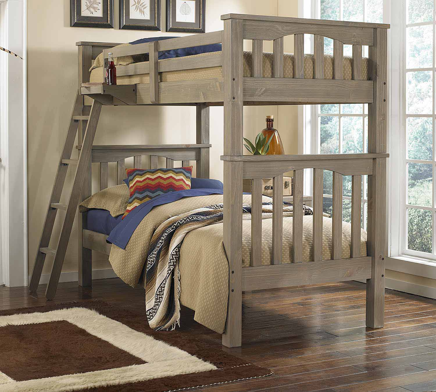 NE Kids Highlands Harper Twin Over Twin Bunk - Driftwood