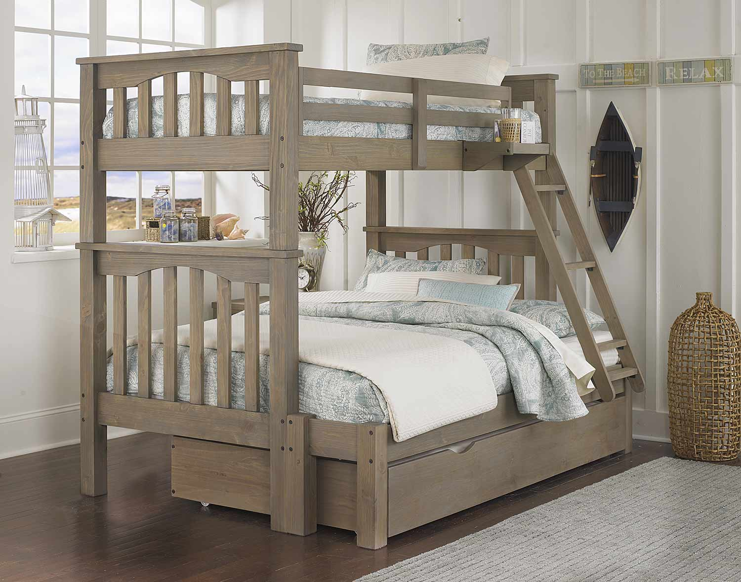 NE Kids Highlands Harper Twin Over Full Bunk With Trundle - Driftwood