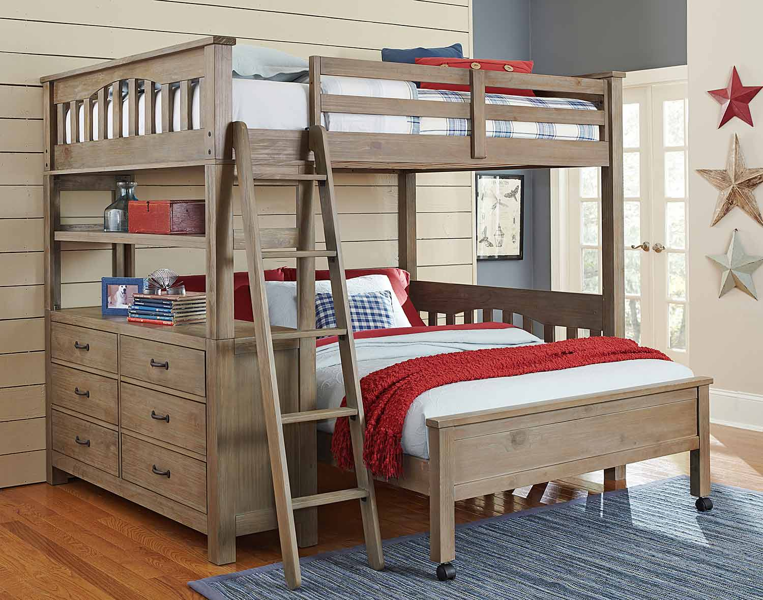 NE Kids Highlands Loft Bed with Full Lower Bed - Driftwood