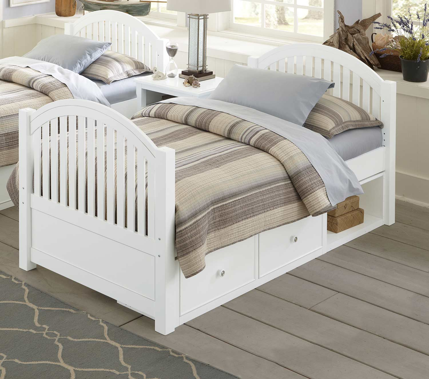 NE Kids Lake House Adrian Twin Bed With Storage - White