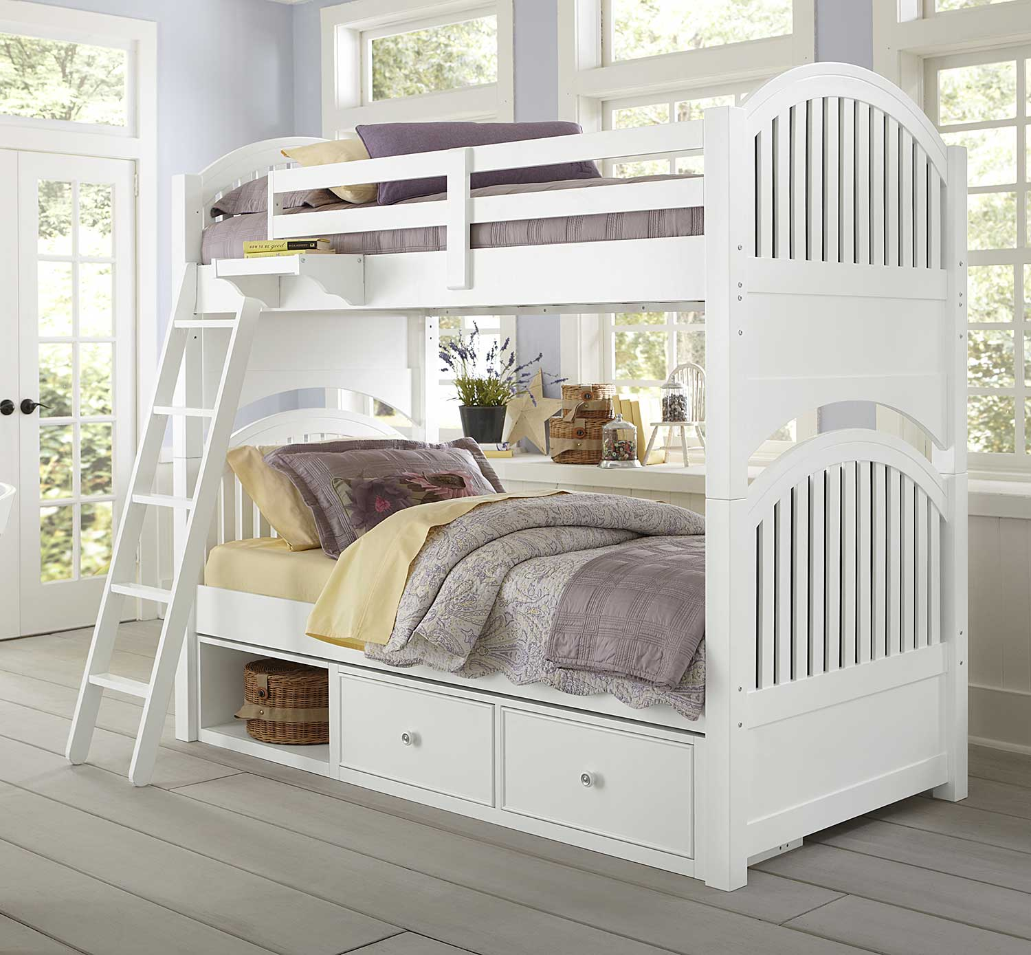 NE Kids Lake House Adrian Twin Over Twin Bunk With Storage - White