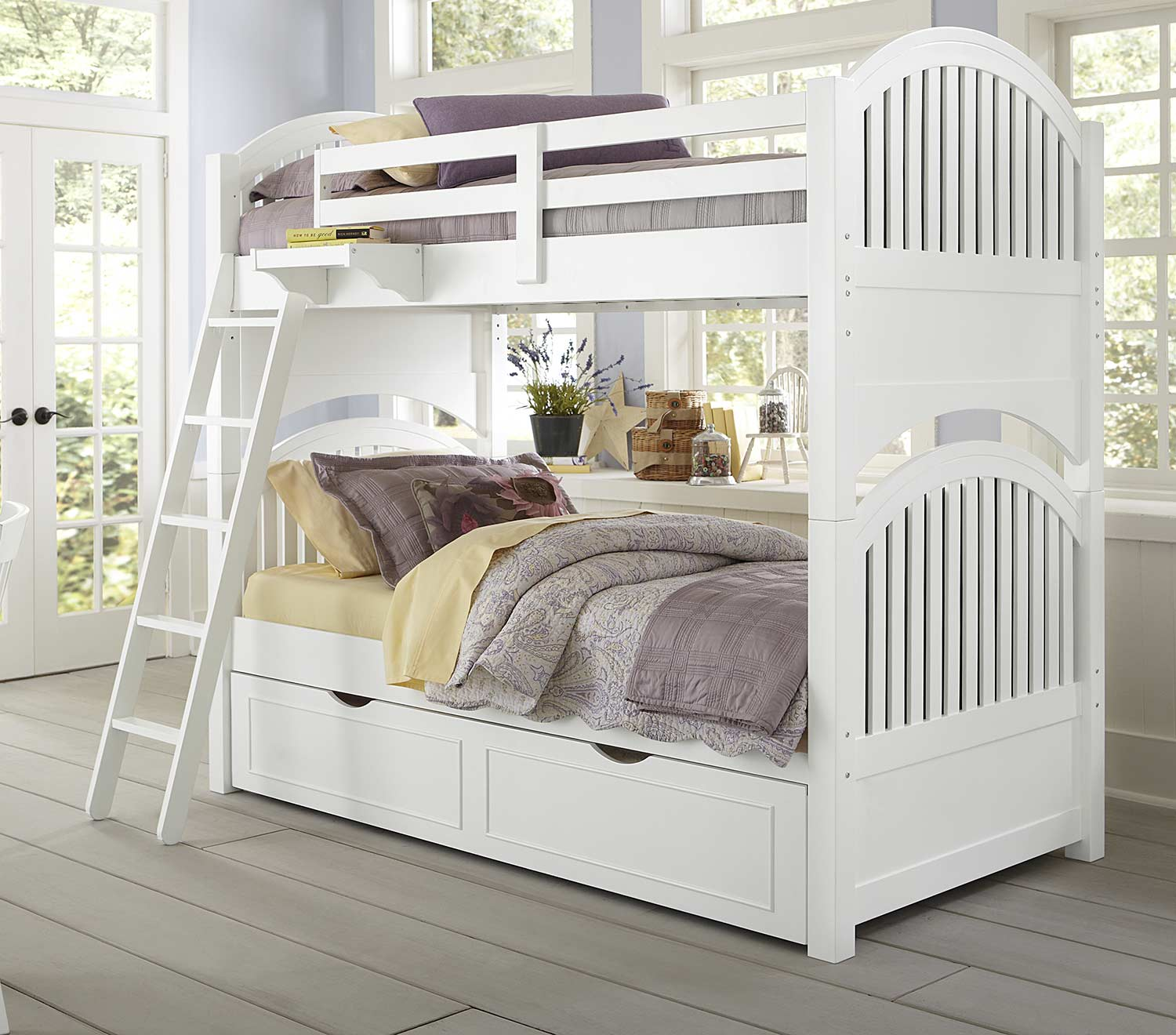 NE Kids Lake House Adrian Twin Over Twin Bunk With Trundle - White