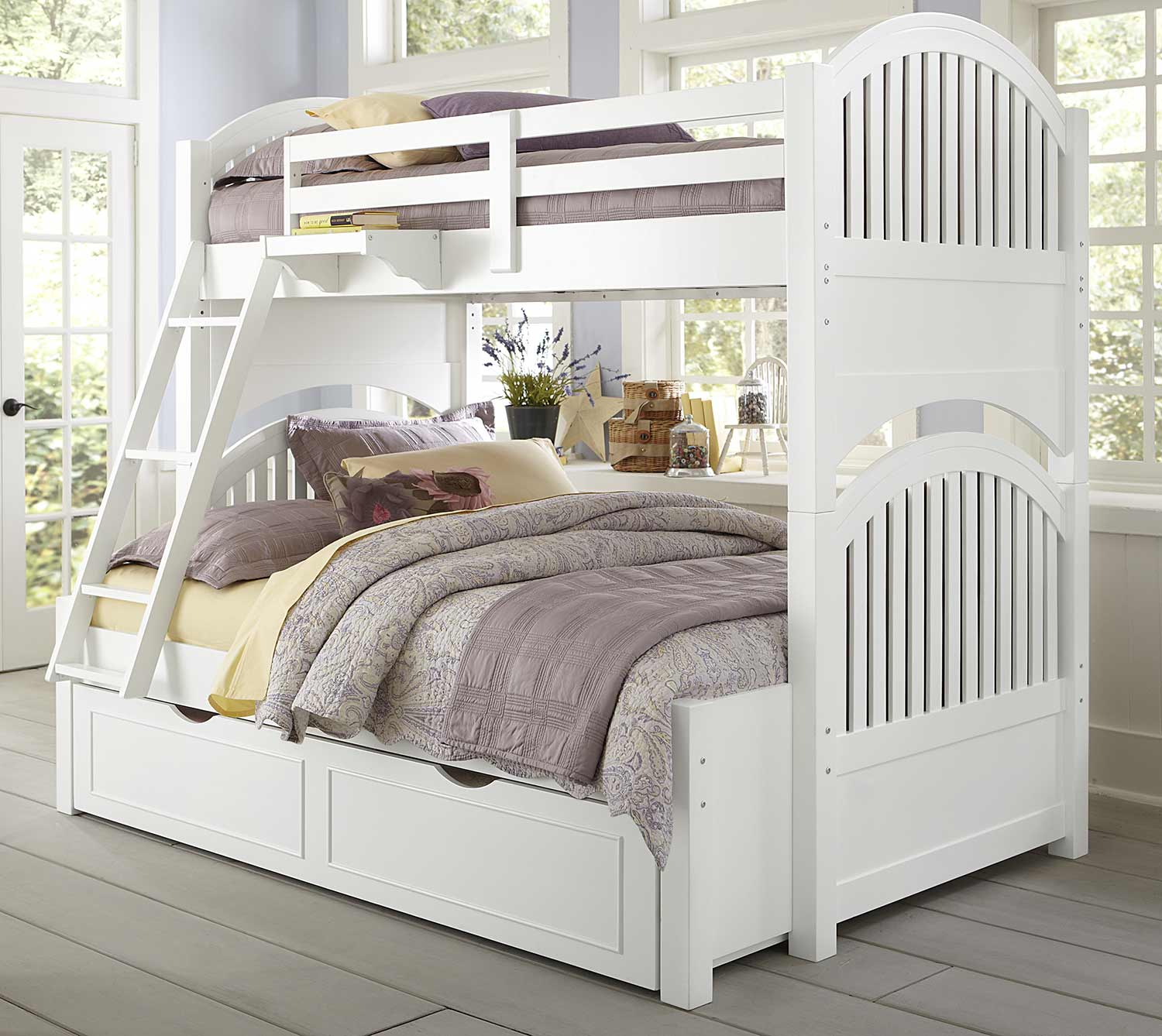 NE Kids Lake House Adrian Twin Over Full Bunk With Trundle - White