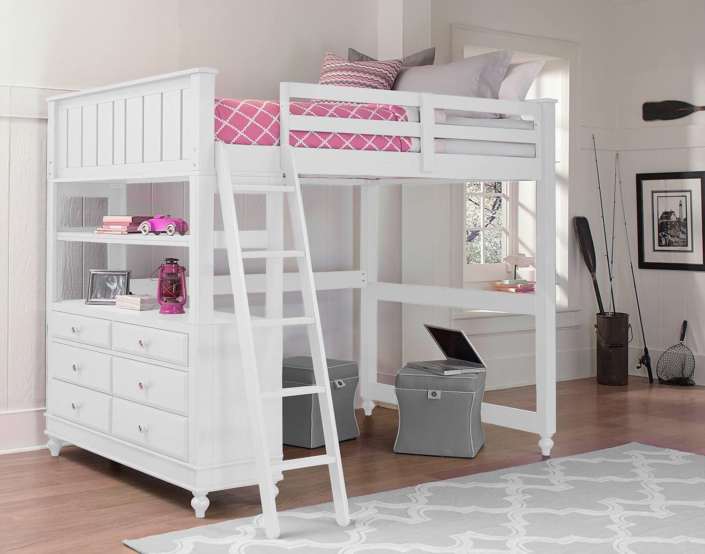 NE Kids Lake House Loft Bed - White