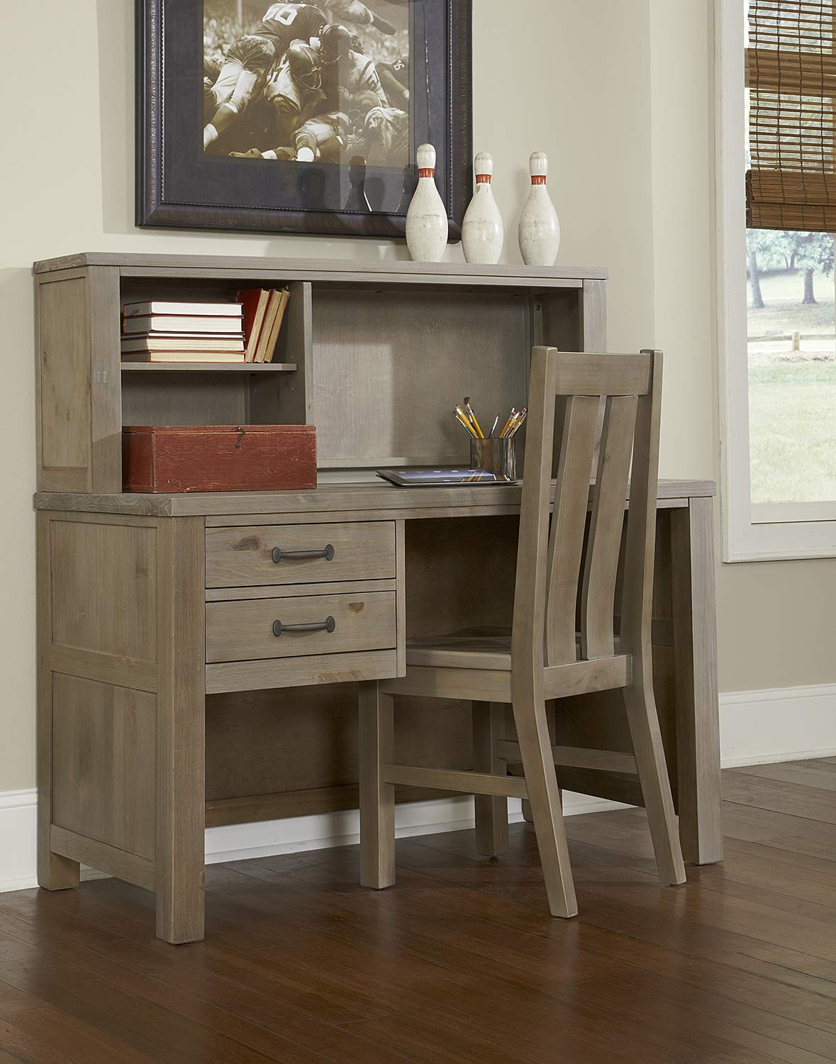 NE Kids Highlands Desk with Hutch And Chair - Driftwood