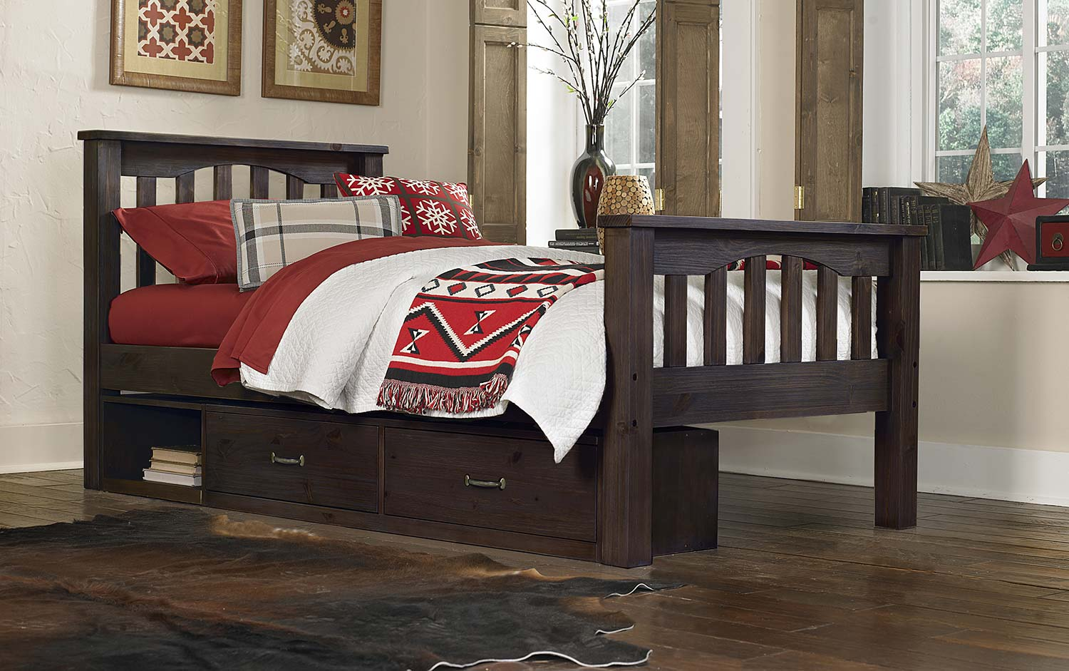 NE Kids Highlands Harper Bed With Storage - Espresso