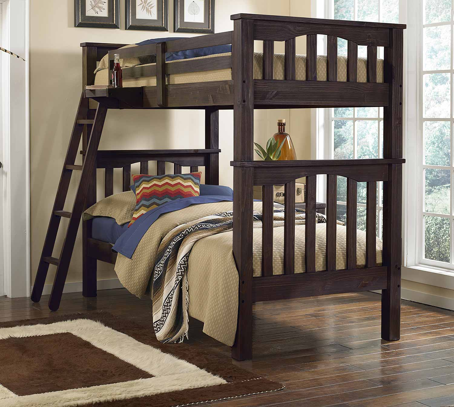 NE Kids Highlands Harper Twin Over Twin Bunk - Espresso