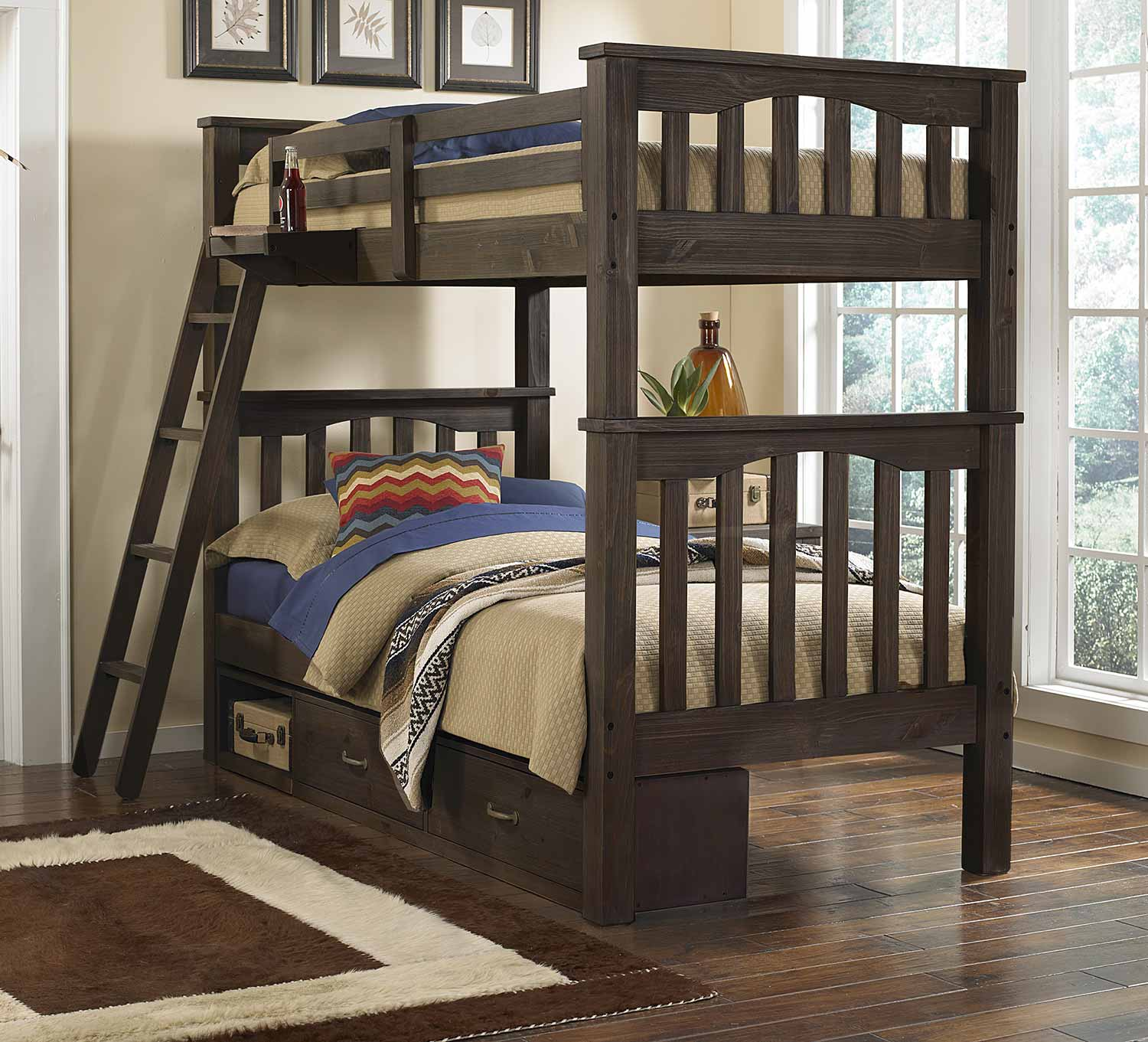 NE Kids Highlands Harper Twin Over Twin Bunk With Storage - Espresso
