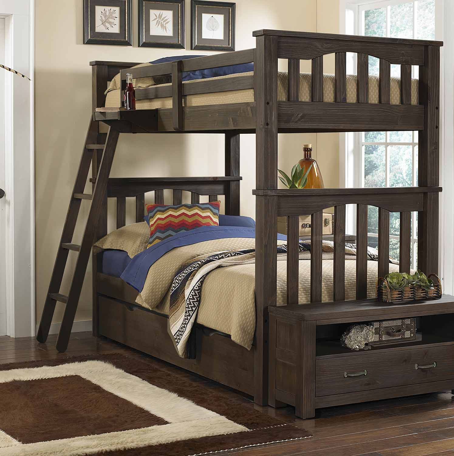 NE Kids Highlands Harper Twin Over Twin Bunk With Trundle - Espresso