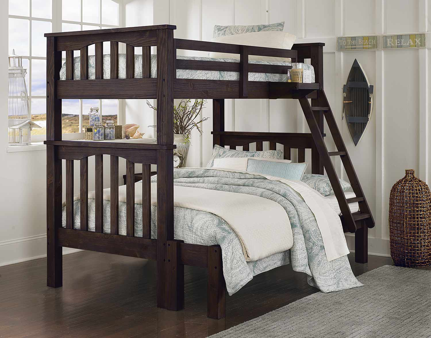 NE Kids Highlands Harper Twin Over Full Bunk (Full Extension) - Espresso