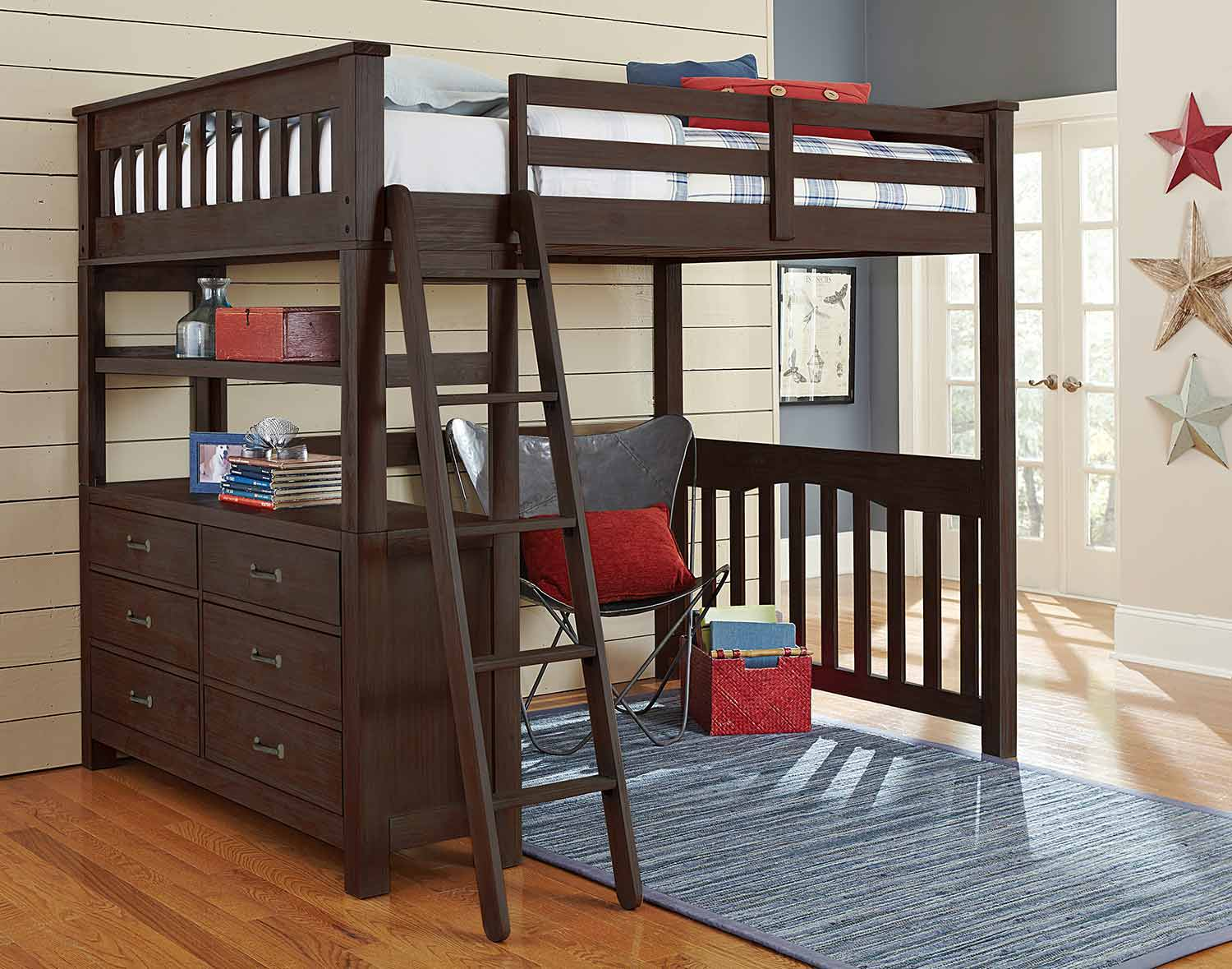NE Kids Highlands Loft Bed - Espresso
