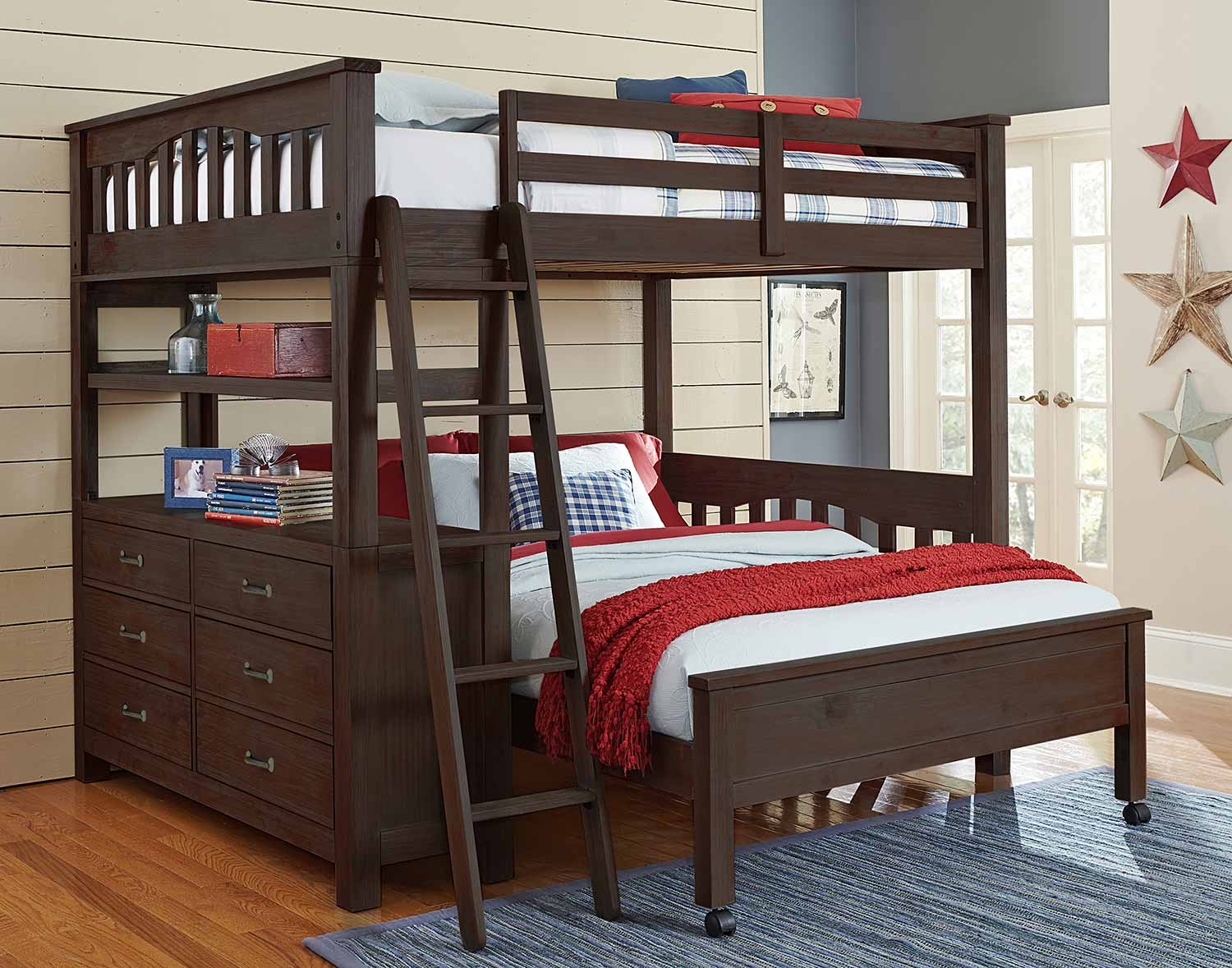 NE Kids Highlands Loft Bed with Full Lower Bed - Espresso