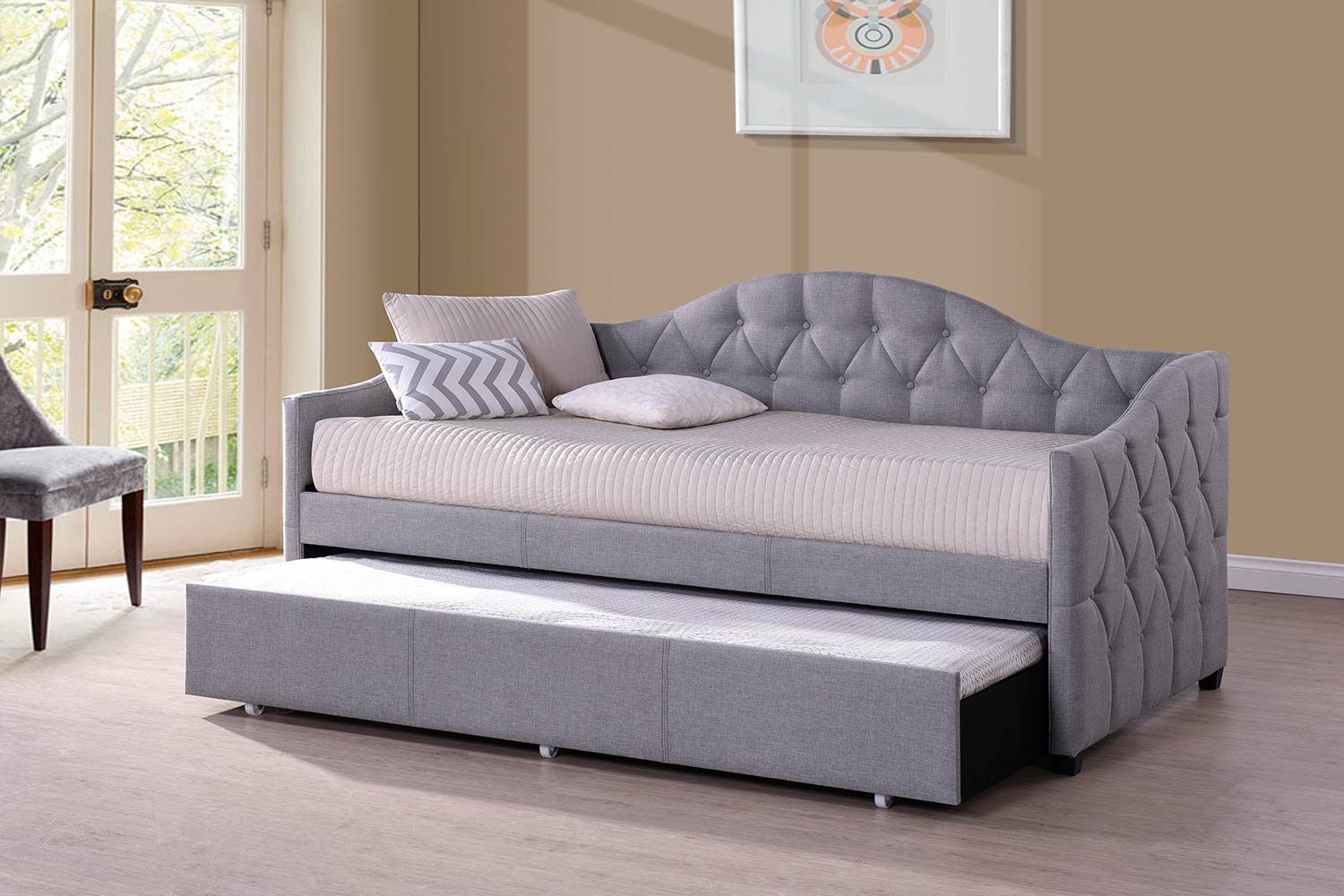 Hillsdale Jamie Daybed with Trundle - Grey Fabric