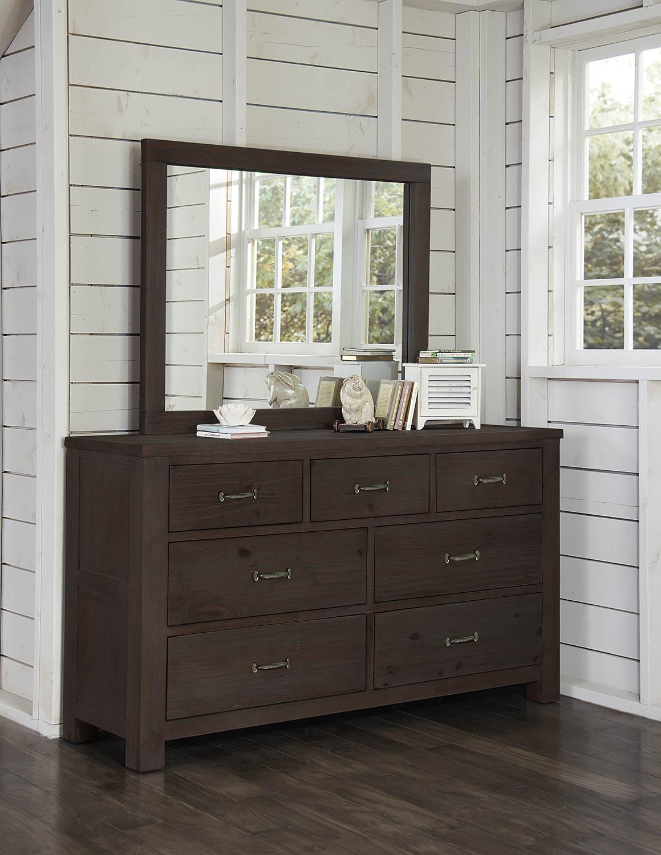 NE Kids Highlands 7 Drawer Dresser with Mirror - Espresso