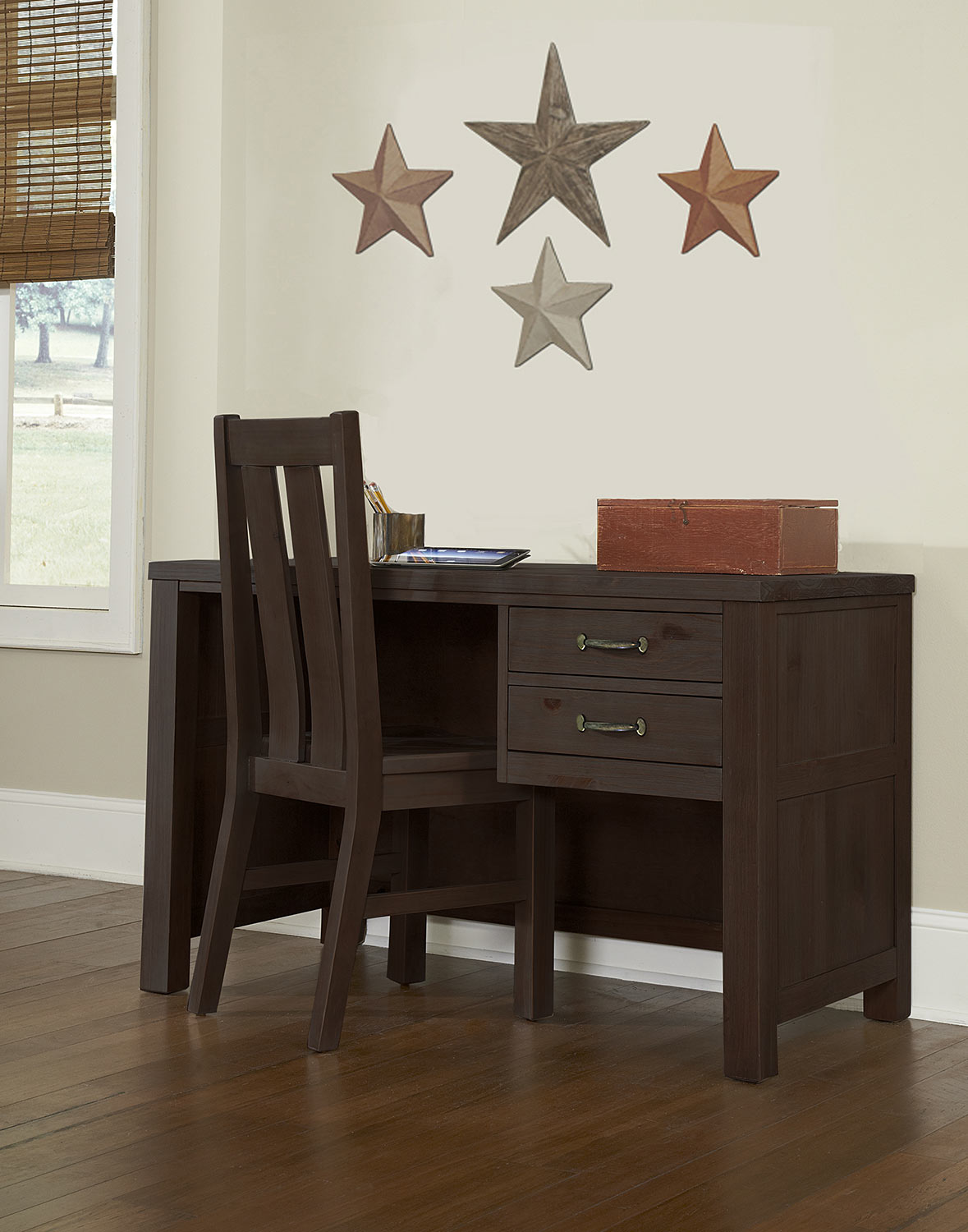 NE Kids Highlands Desk with Chair - Espresso