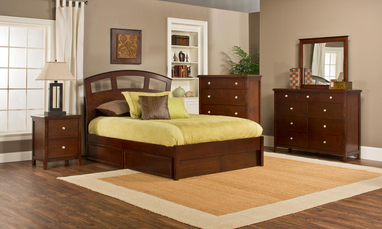 Hillsdale Metro Riva Storage 5-Piece Bedroom Collection - Cherry