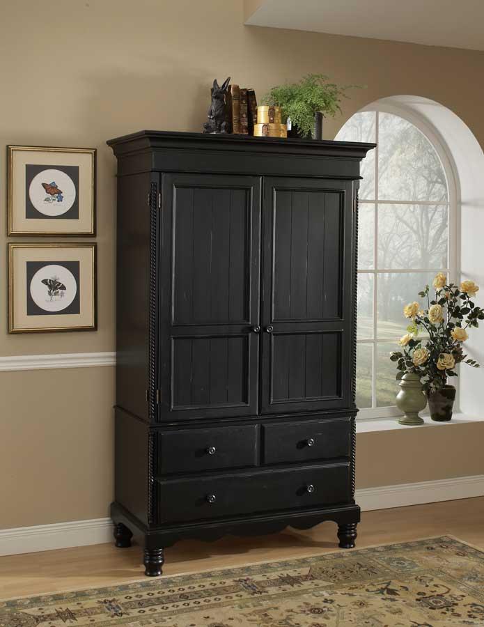 Black Wood Armoire ~ Hillsdale wilshire armoire rubbed black hd