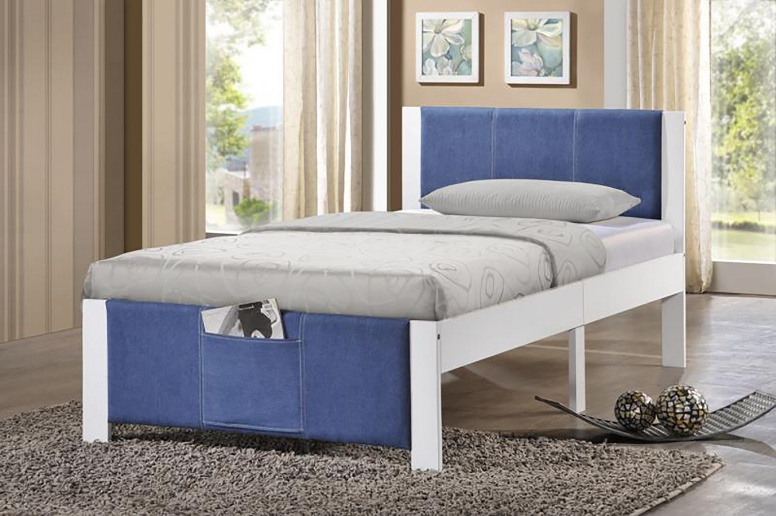 Hillsdale Ventura Twin Bed - White - Denim