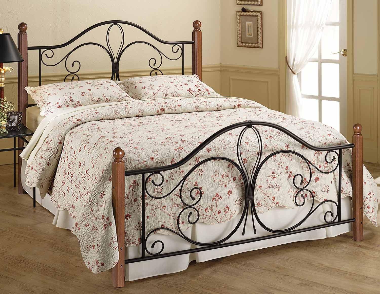 Hillsdale Milwaukee Wood Post Bed - Black/Cherry