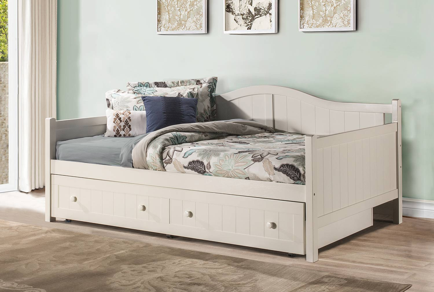 hillsdale staci daybed with trundle full white hd 1525fdbt at. Black Bedroom Furniture Sets. Home Design Ideas