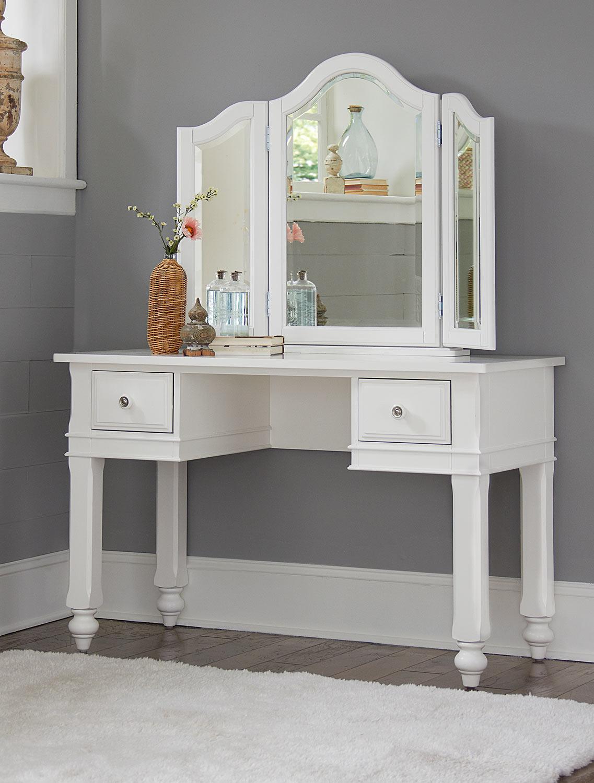 NE Kids Lake House Writing Desk with Vanity Mirror - White