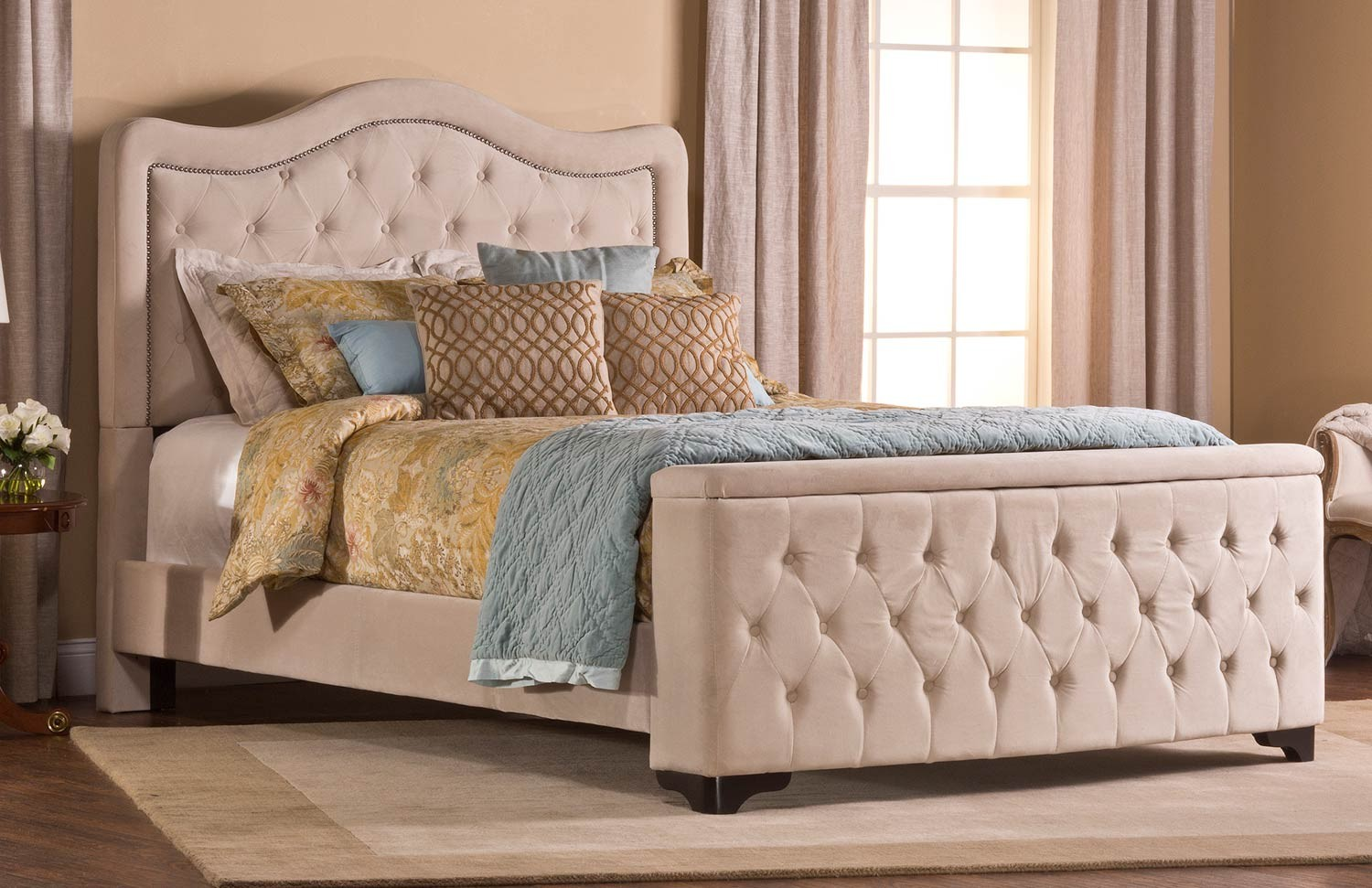 Hillsdale Trieste Tufted Upholstered Bed - Storage Footboard - Buckwheat