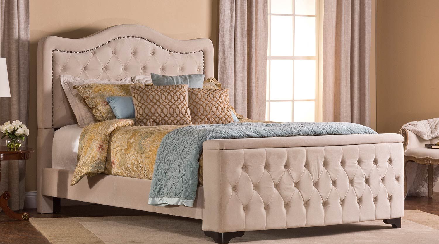 Hillsdale Trieste King Bed - Storage Footboard - Buckwheat